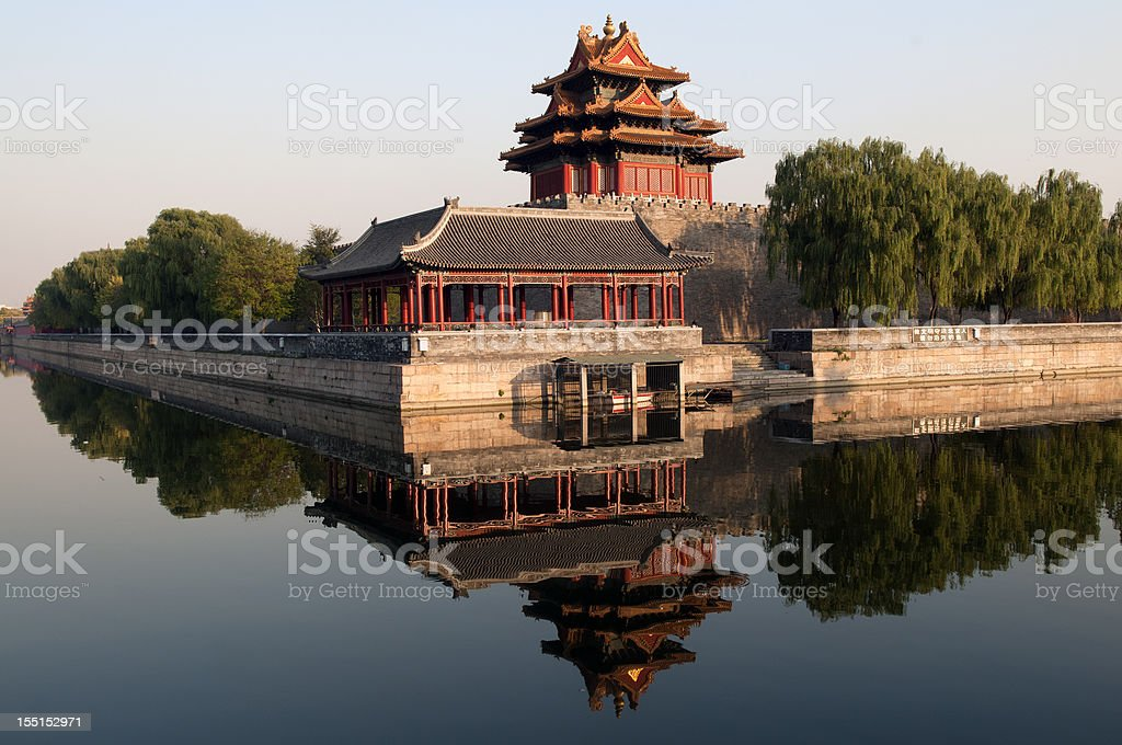 Northwest Wall of Forbidden City Beijing China stock photo
