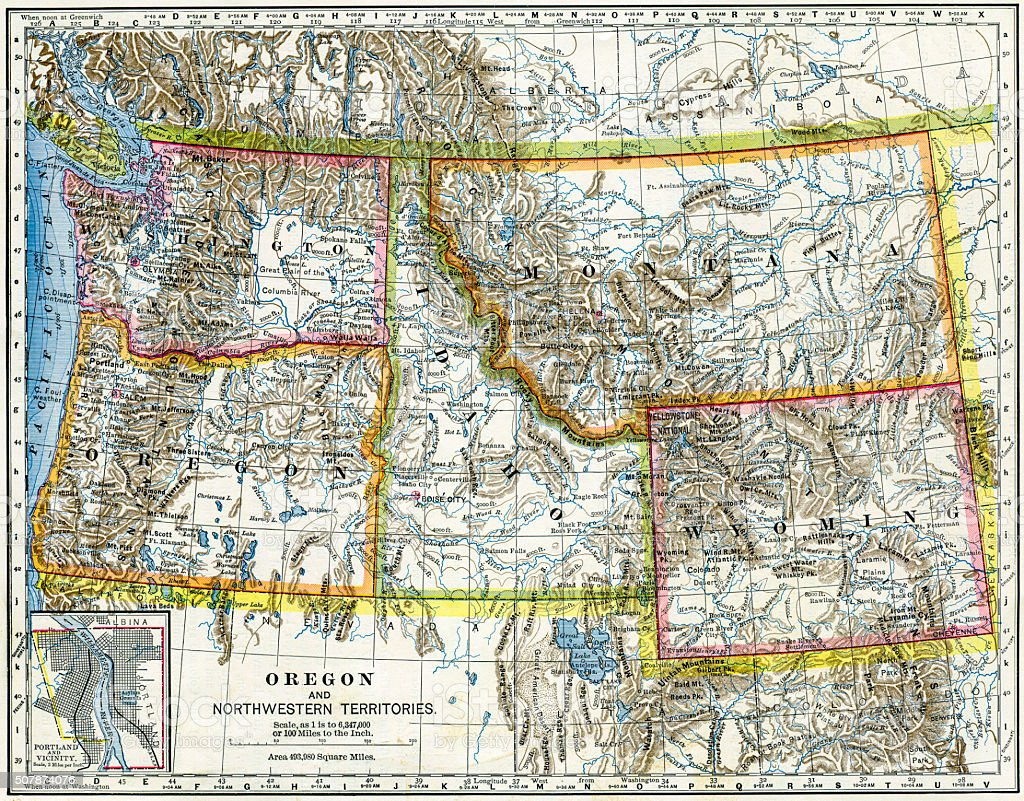 Northwestern United States Map 1883 stock photo