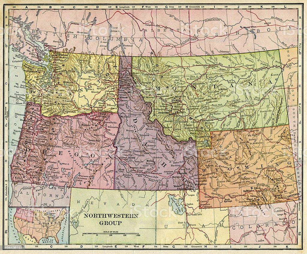 Northwestern USA Map 1896 stock photo