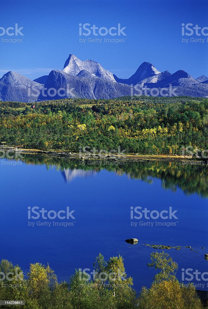 norvegian lake landscape royalty-free stock photo