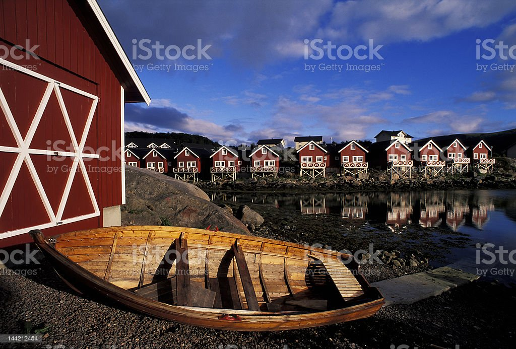 norvegian rorbu and boat royalty-free stock photo