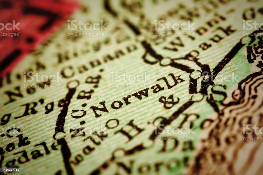 Norwalk, Connecticut on an Antique map stock photo