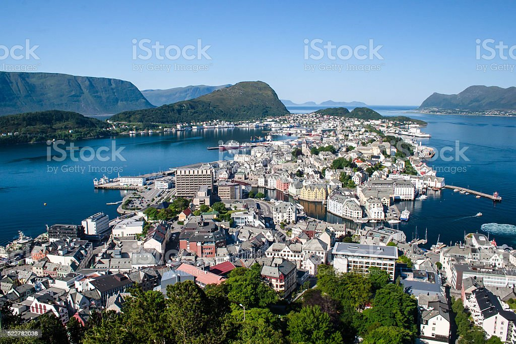Norway a view of Ålesund from an observation deck stock photo