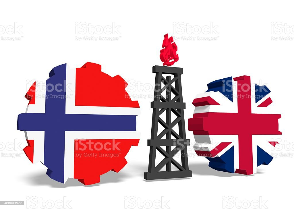 norway and britain flags on gears, gas rig between them stock photo