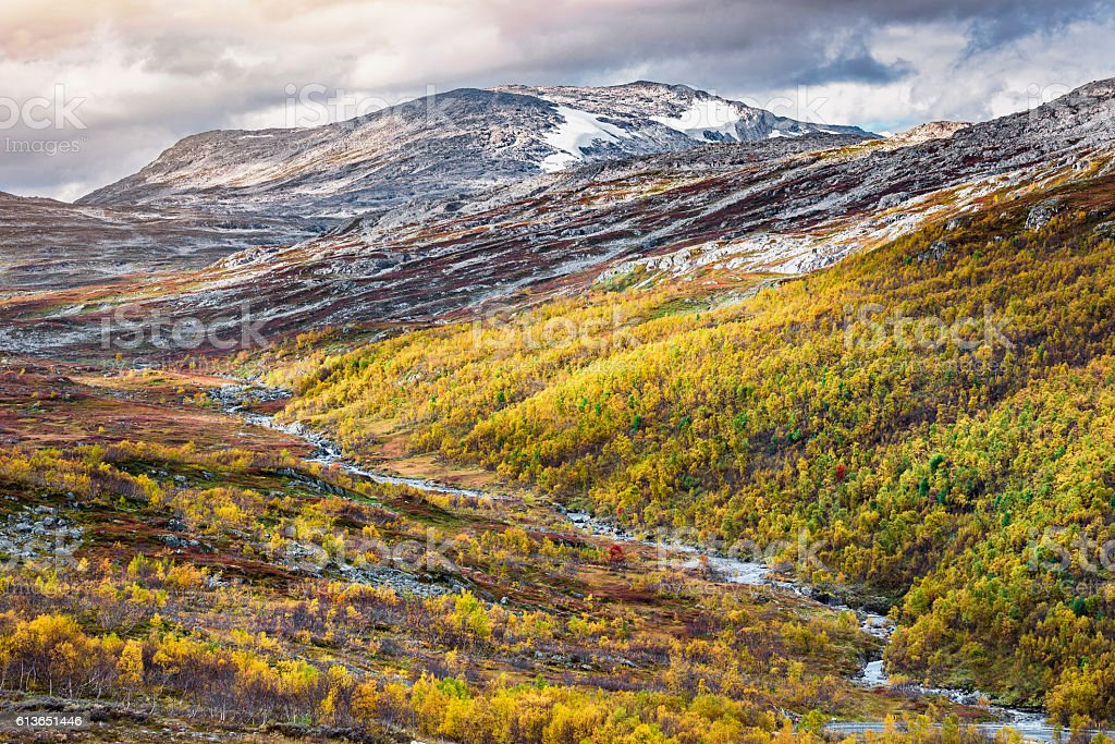 Norway autumn landscape stock photo
