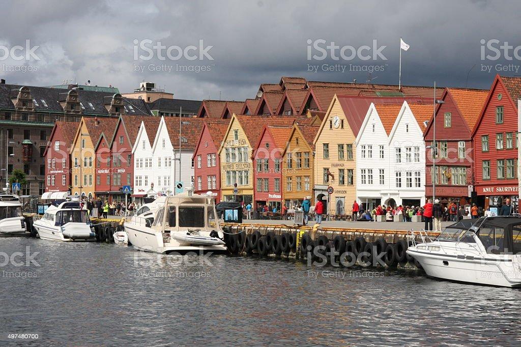Norway - Bergen, Bryggen Hanseatic Wharf stock photo