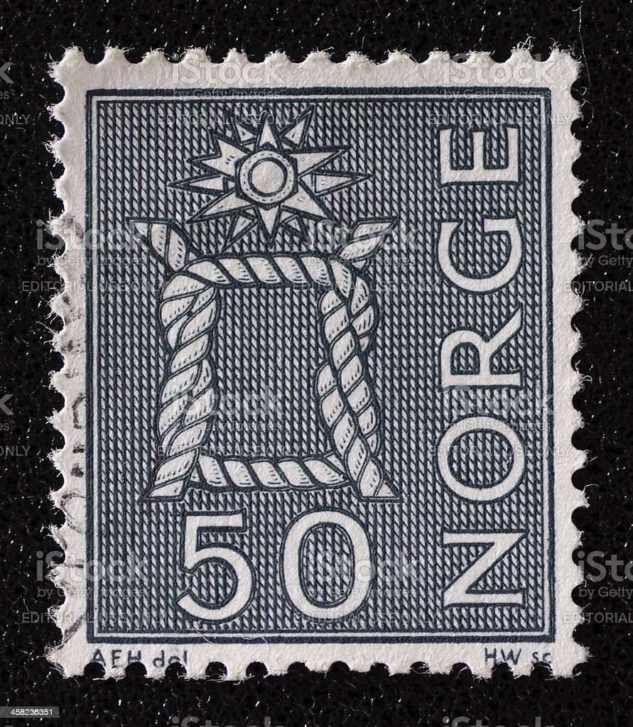 Norway Boatswain's Knot postage stamp stock photo