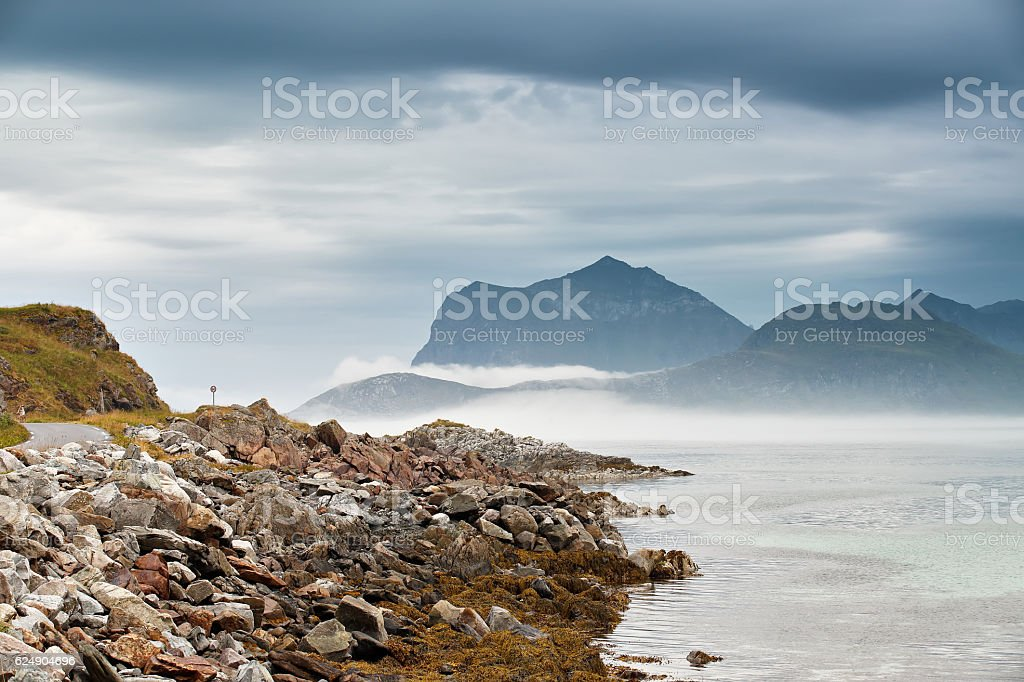 Norway coast. Ocean beach. Vacation in Norway stock photo