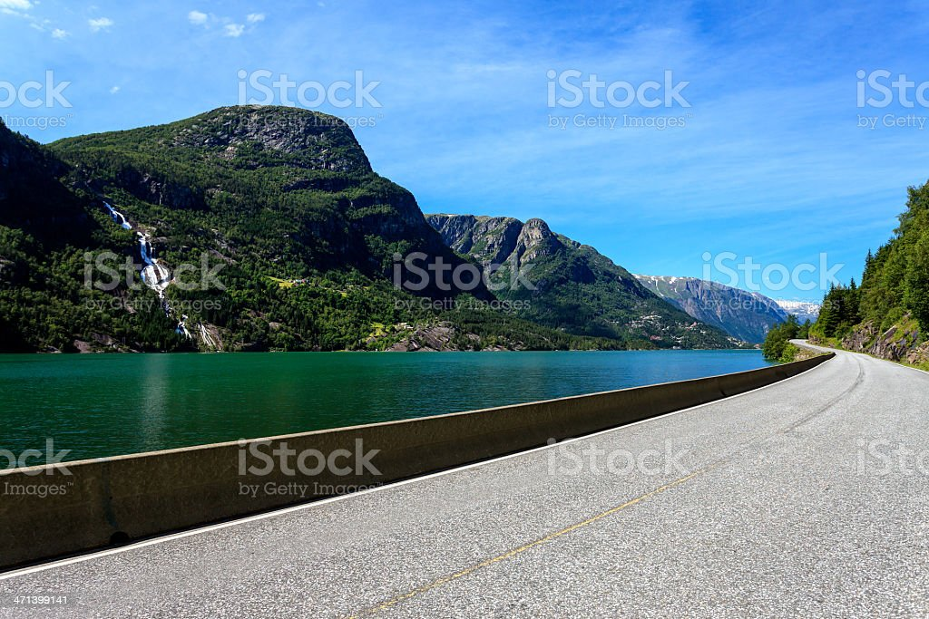 Norway, country road to folgefonna national park in Odda royalty-free stock photo
