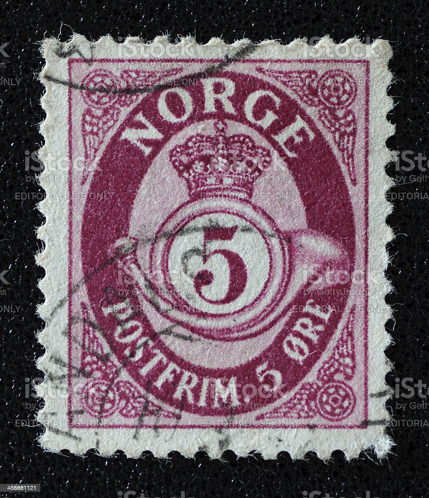 Norway Crown and Horn postage stamp royalty-free stock photo