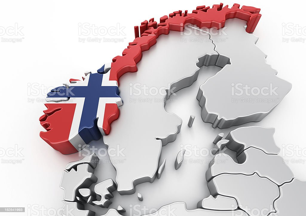 Norway decorated with the Norwegian flag stock photo