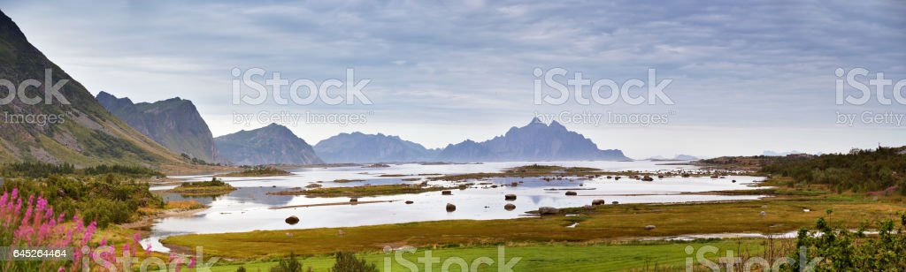 Norway Fjord. Cloudy summer landscape panorama stock photo