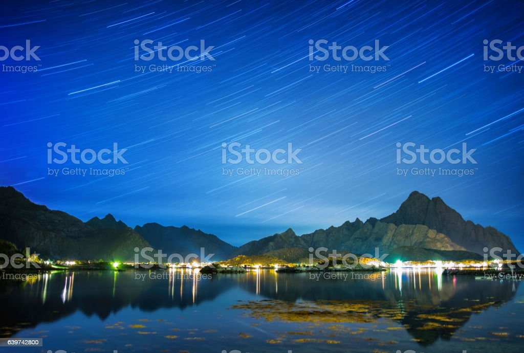 Norway fjord stratrails stock photo