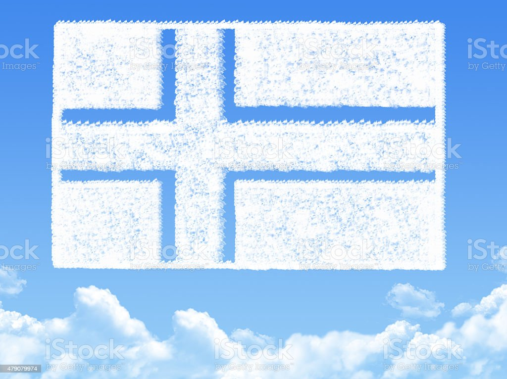 Norway flag cloud shape vector art illustration