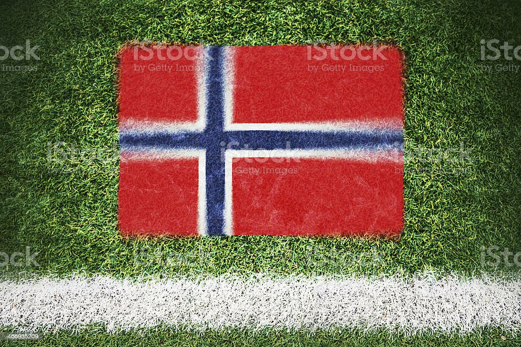 Norway flag printed on a soccer field royalty-free stock photo