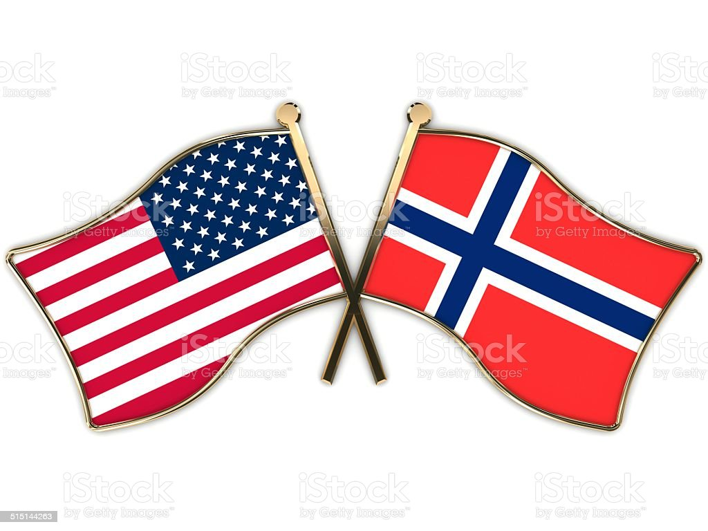USA Norway Flags Badge stock photo