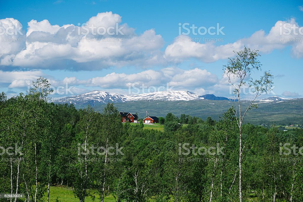 Norway house with mountain in background stock photo