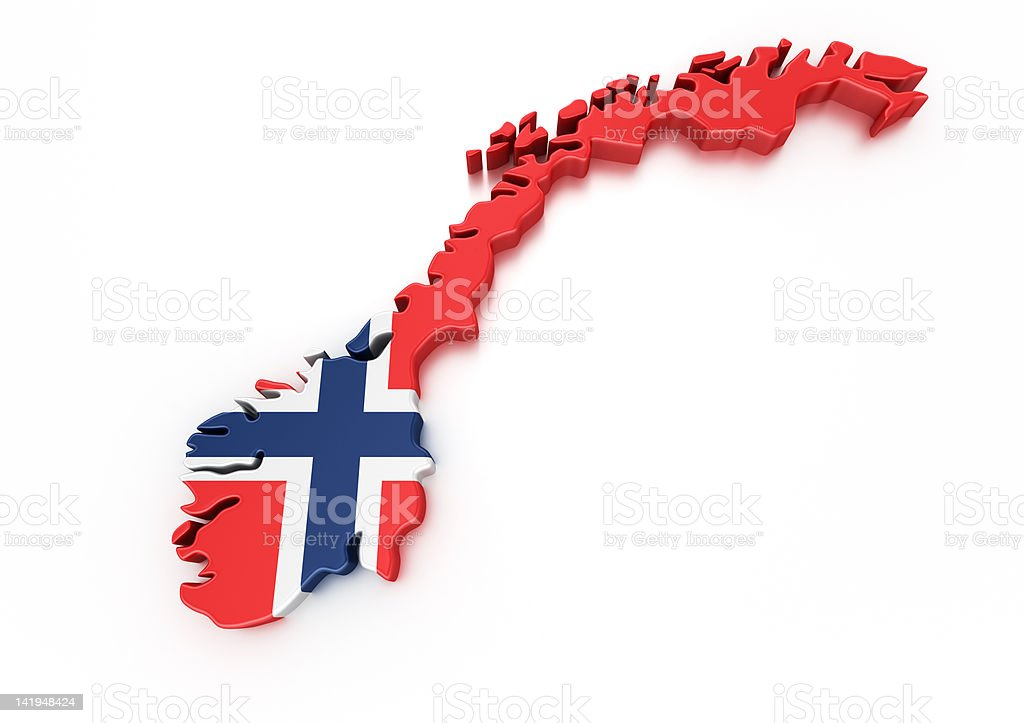 Norway in flag's colors on white background stock photo