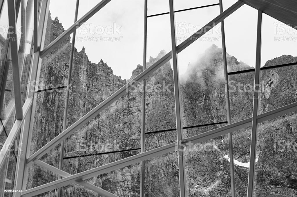 Norway landscape. Troll wall massif mountain. Trollveggen viewpo stock photo