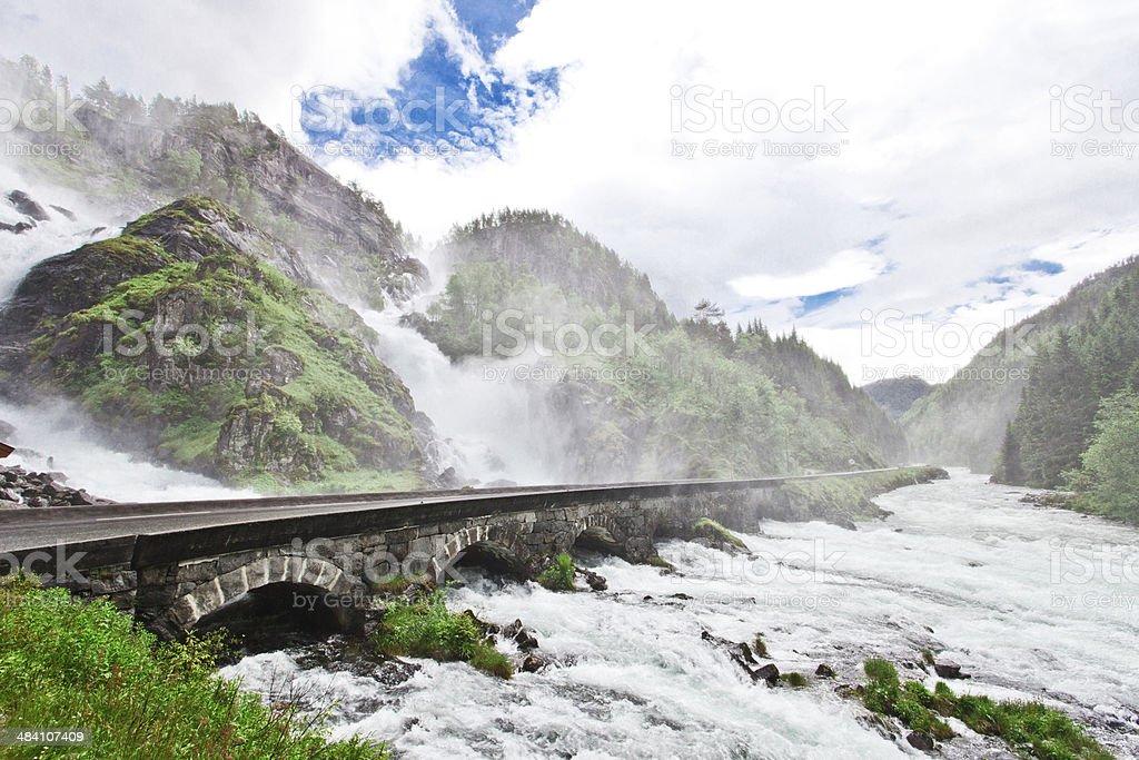 Norway - Latefoss Waterfall stock photo