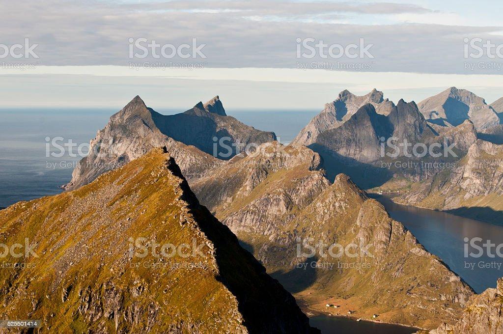 Norway, Lofoten islands, view from Munkan stock photo