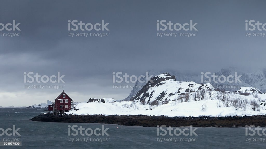 Norway Lofoten kabelvag stock photo