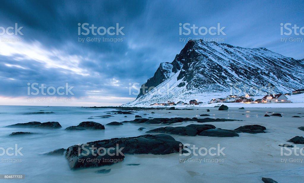 Norway lofoten winter landscape stock photo