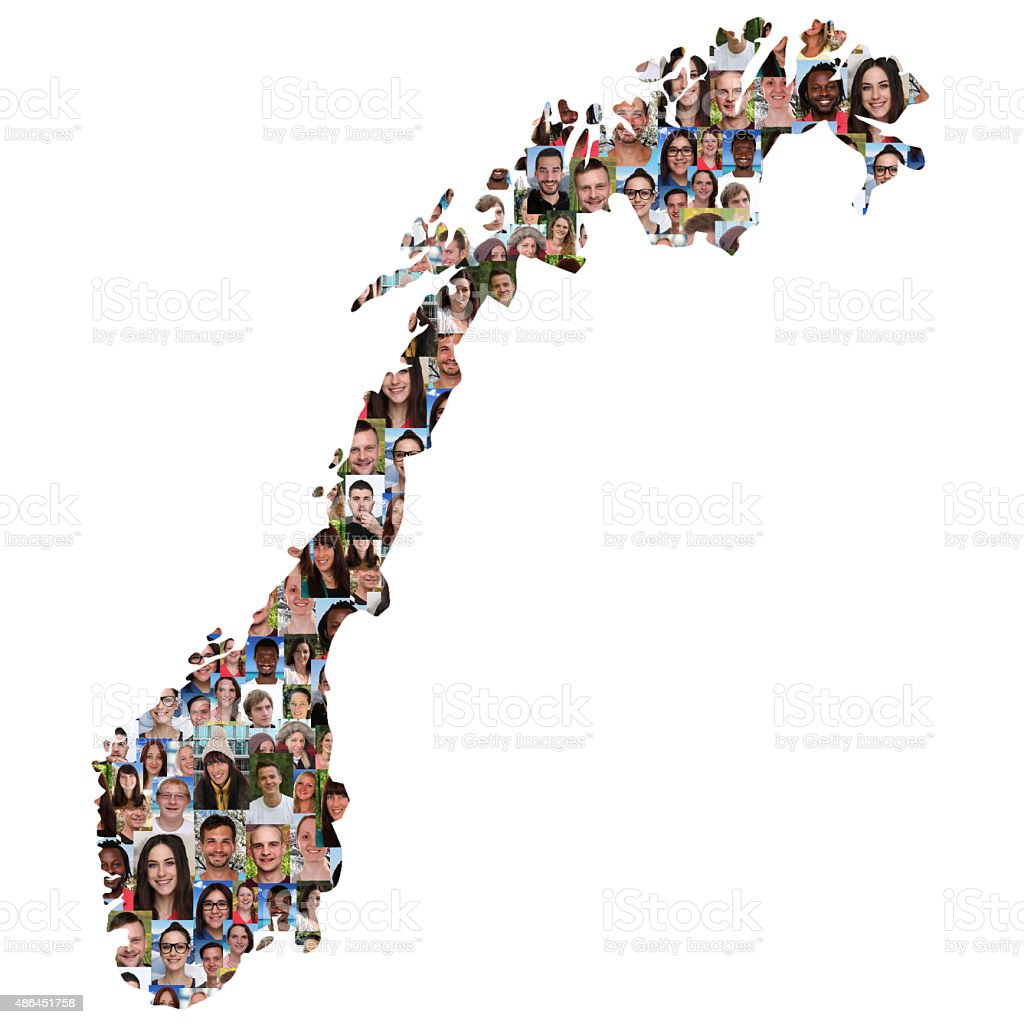 Norway map multicultural group of young people integration stock photo