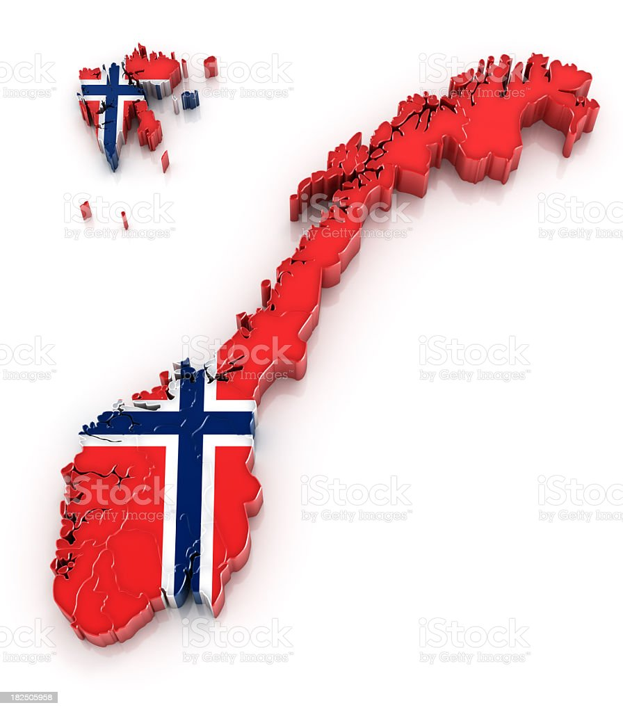 Norway map with flag stock photo