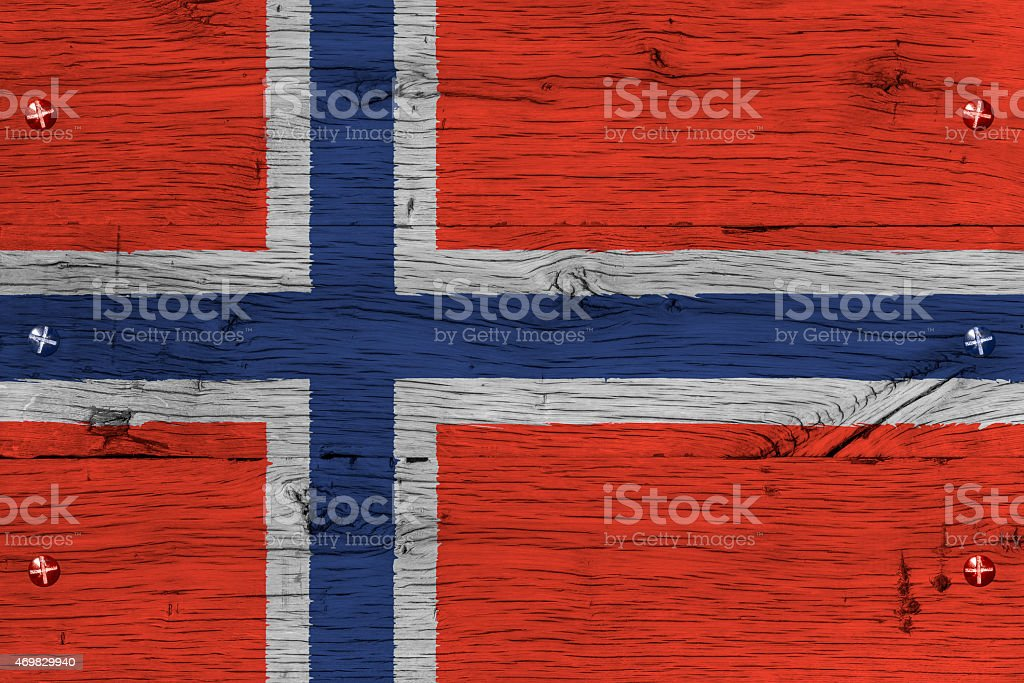 Norway national flag painted old oak wood fastened stock photo