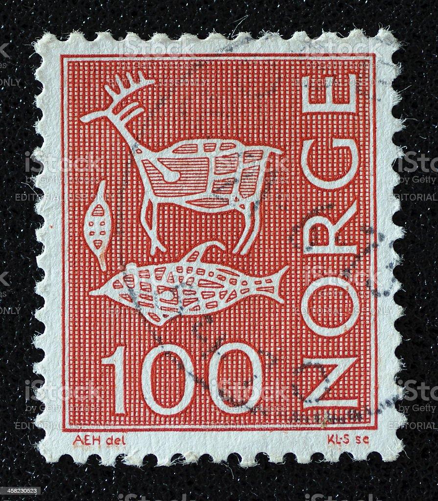 Norway Rock Art postage stamp royalty-free stock photo