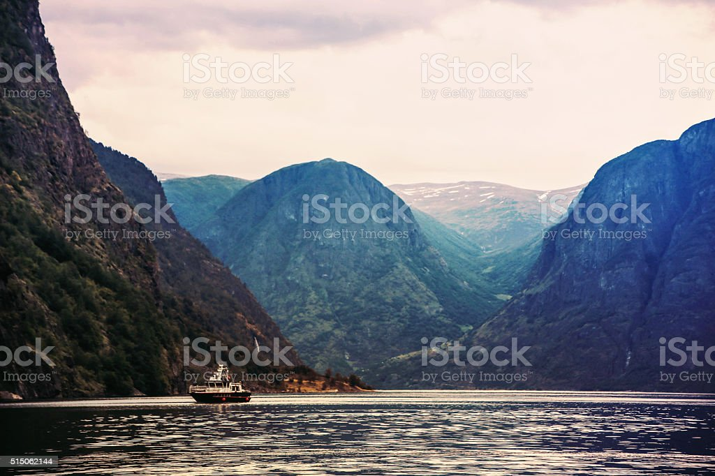 Norway, Sognefjord in the evening stock photo