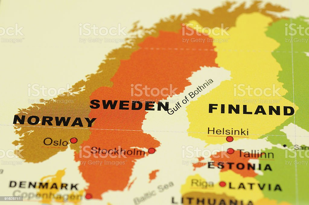 Norway, Sweden and Finland on map stock photo