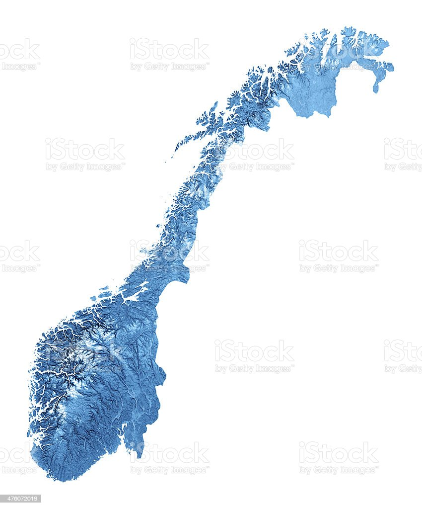 Norway Topographic Map Isolated stock photo