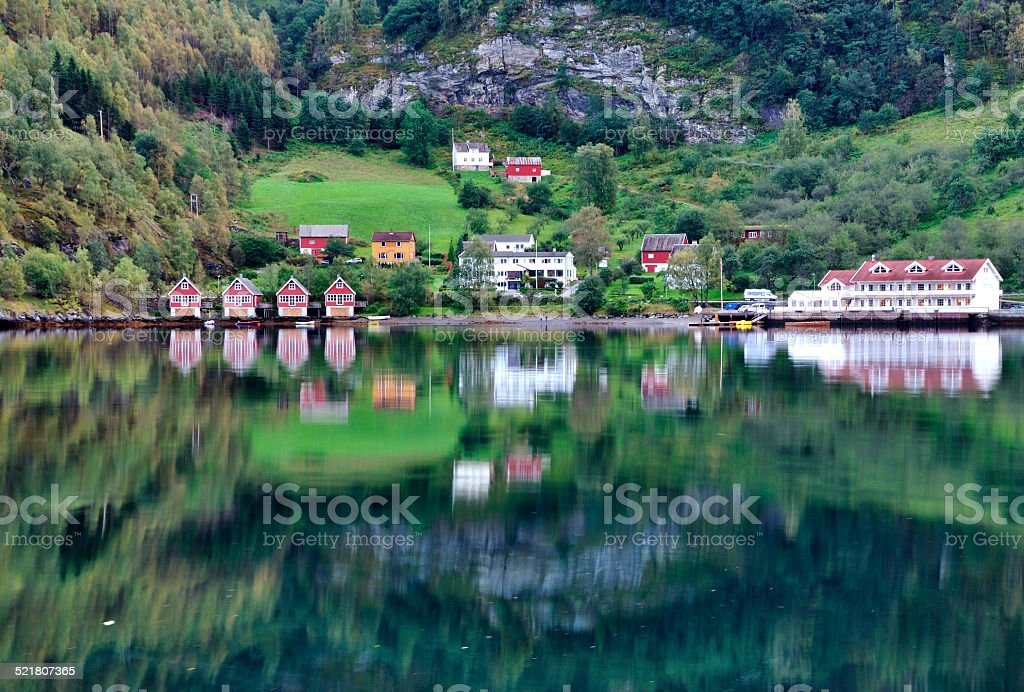 Norway village and scenic lake view stock photo