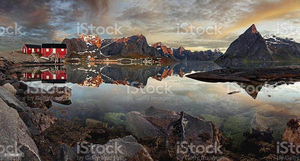 Norway village Reine with mountain, panorama stock photo