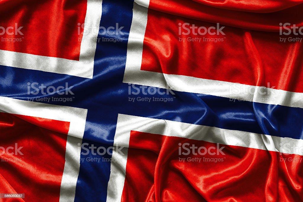 Norway Waving Flag - fabric background stock photo