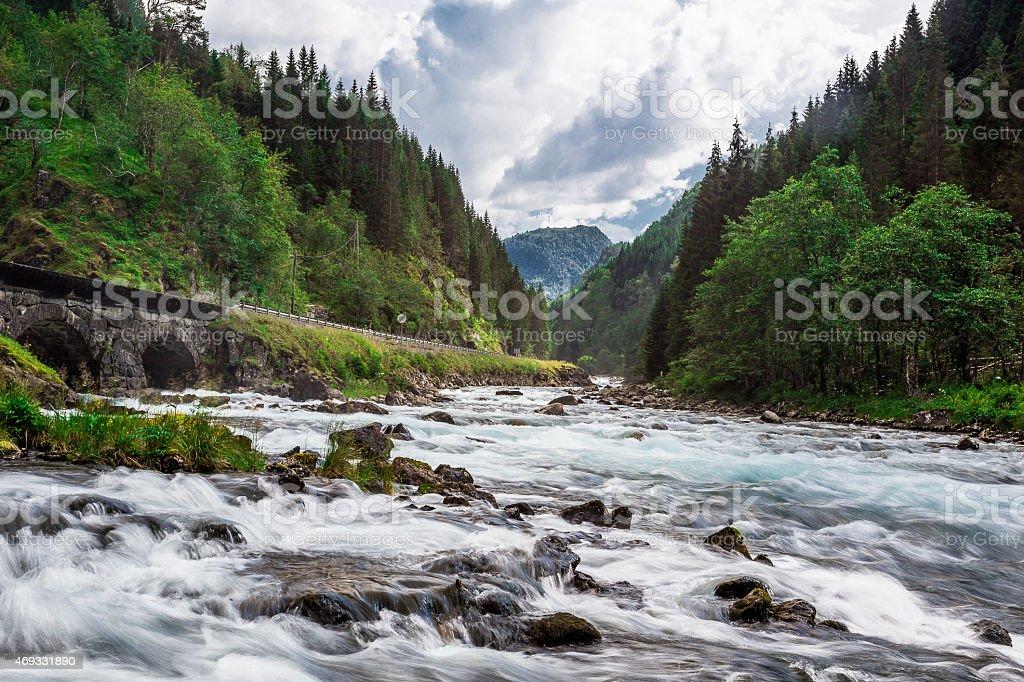 Norway's Iconic Latefossen Waterfall stock photo