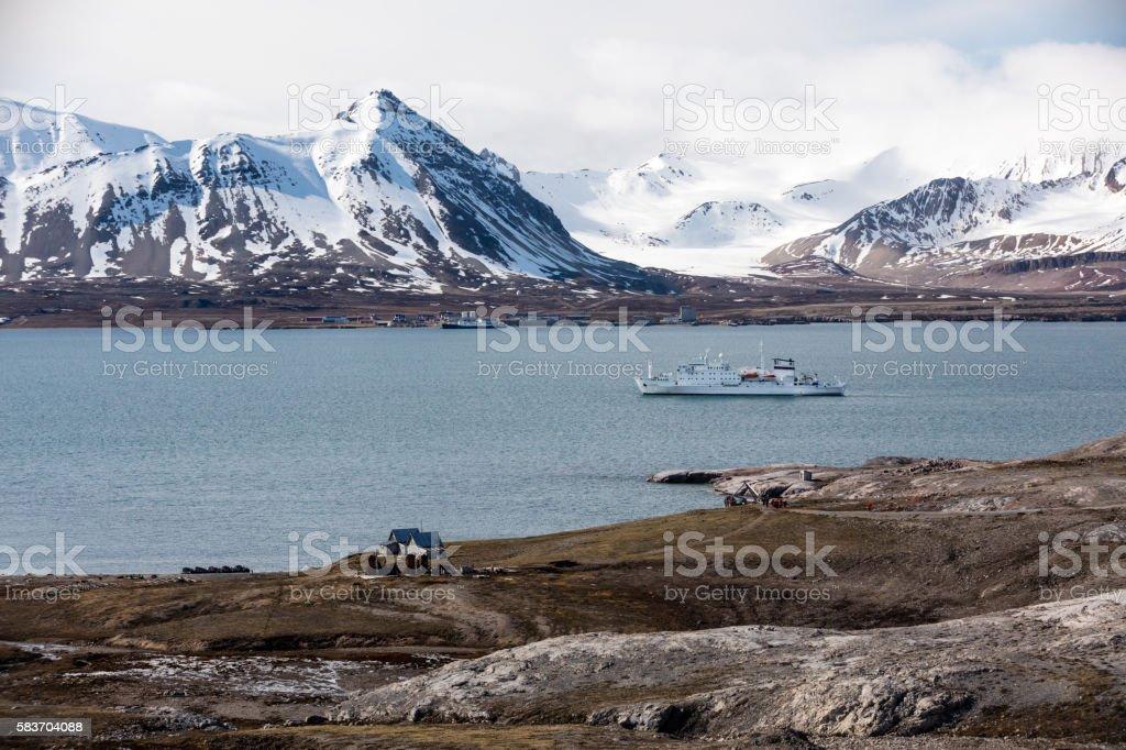 Norwegian Arctic: Ny London & Ny Alesund with cruise ship stock photo