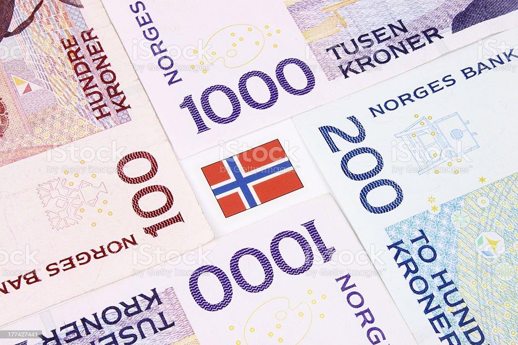 Norwegian Bank Notes &  Flag stock photo