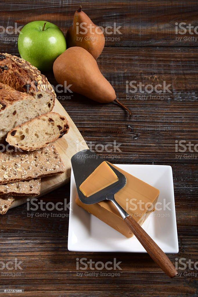 Norwegian Brunost or Gjetost Brown Cheese stock photo