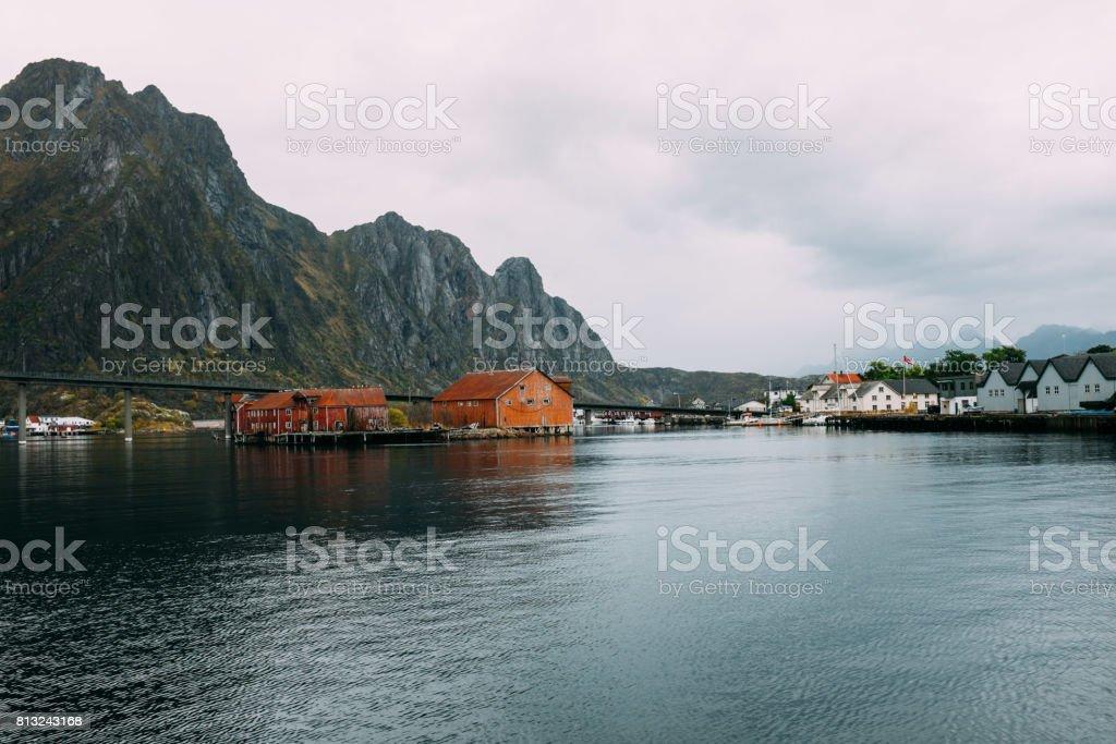 Norwegian fishing village in Lofoten islands stock photo