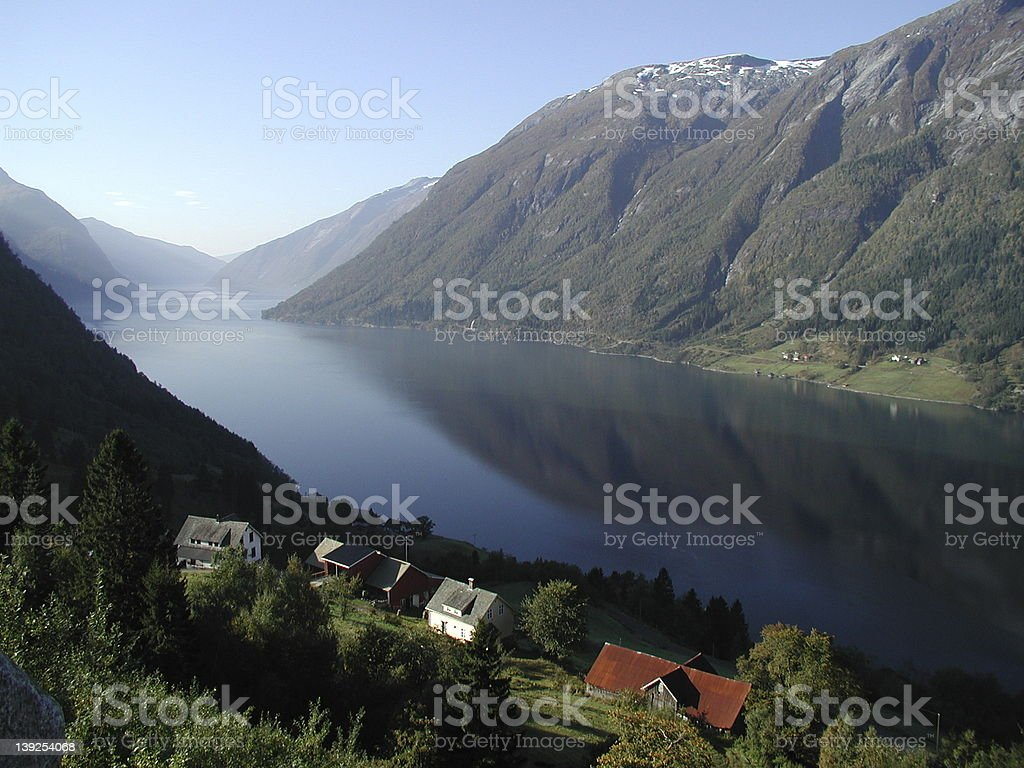 Norwegian fjord and farm royalty-free stock photo