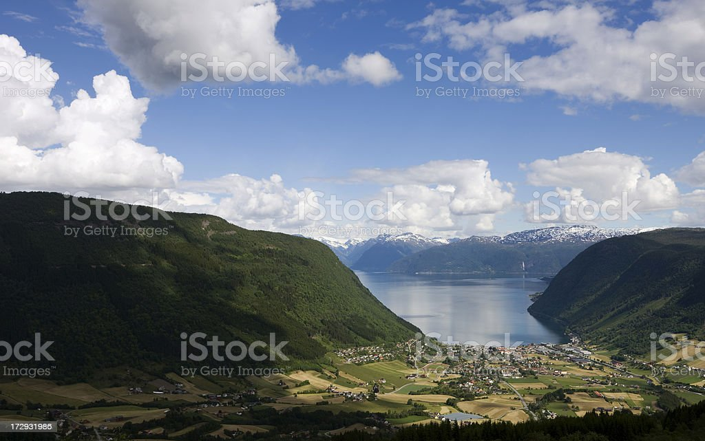 Norwegian Fjord and Valley stock photo