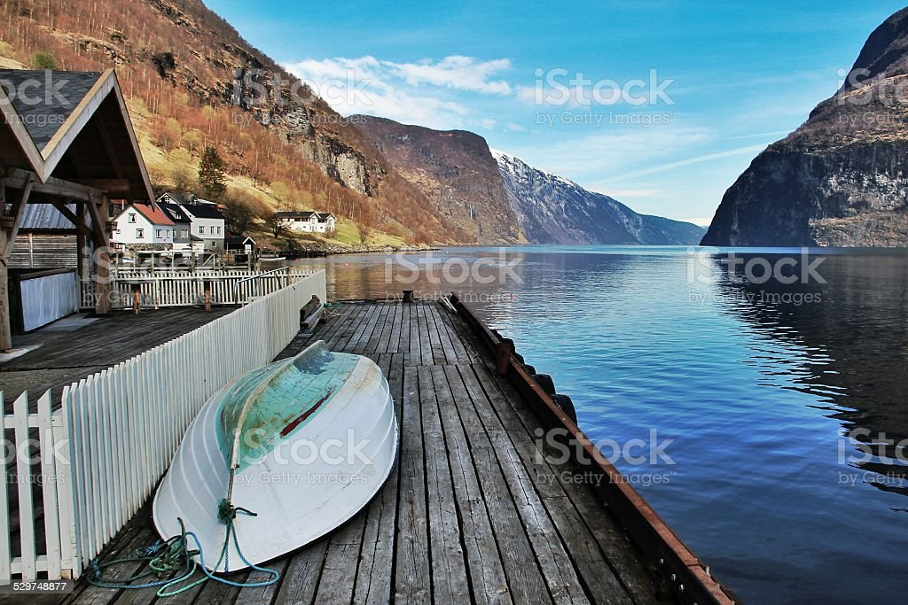 Norwegian fjord house stock photo