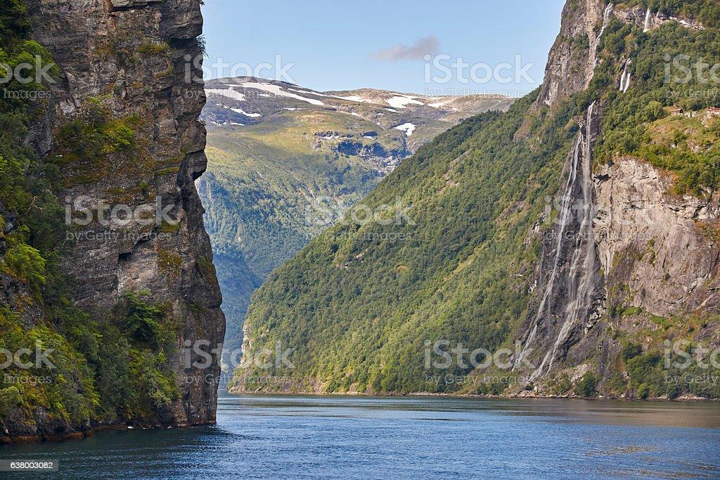 Norwegian fjord landscape. Hellesylt, Geiranger route. Tourism stock photo