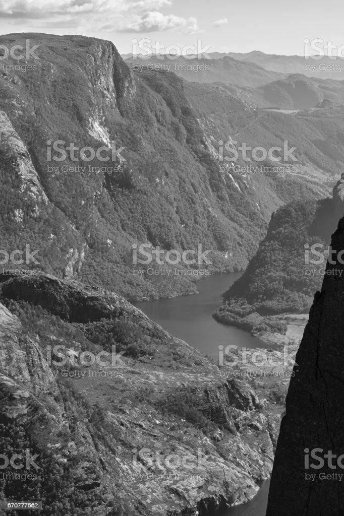 Norwegian fjord landscape. Preikestolen area. Norway landmark landscape. stock photo