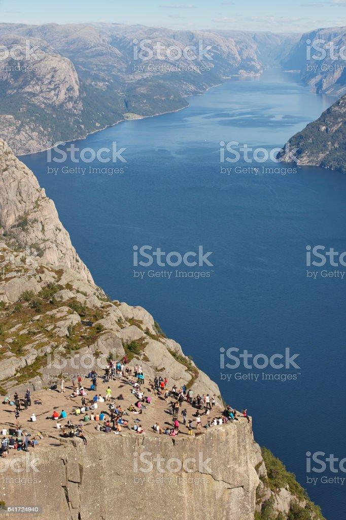 Norwegian fjord landscape. Preikestolen area. Norway landmark attraction stock photo