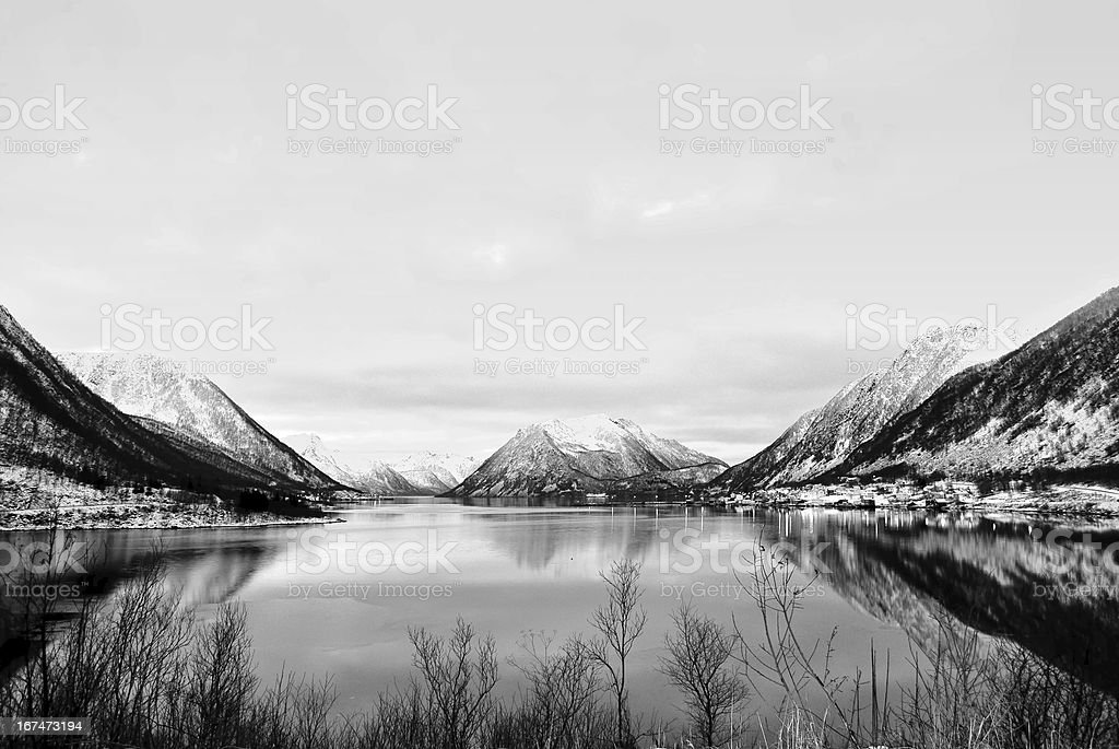 Norwegian fjords black and white stock photo