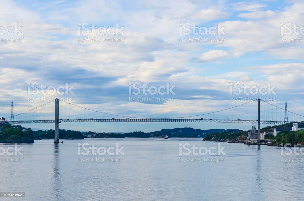 Norwegian fjords bridge stock photo